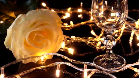 champagne bottles : Bright garlands. Stock Footage