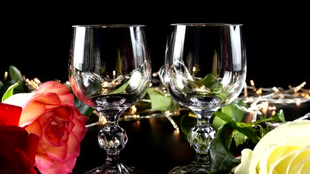 red wine : Bright garlands. Stock Footage