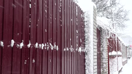 monte de neve : Snow against the background of a fence. Snow in the city. Shooting in the winter.