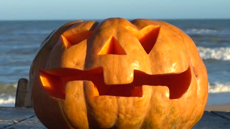 jack olantern : Spooky halloween pumpkin. Shooting against the background of the sea. Stock Footage