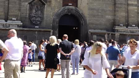 cupola : LVIV, UKRAINE - AUGUST 19, 2018: Unknown people near the Catholic Cathedral. Time lapse shoot. Stock Footage