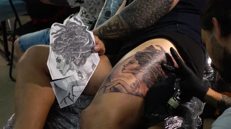 inked : LVIV, UKRAINE - SEPTEMBER 7, 2019: Tattoo Festival in Lviv. Stock Footage