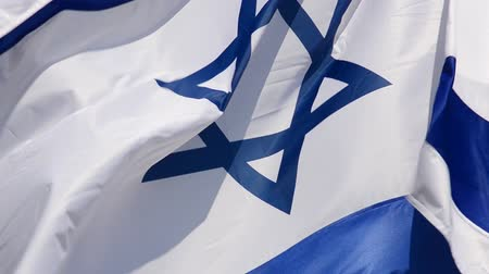 davidster : The flag of Israel against the background of the blue sky.