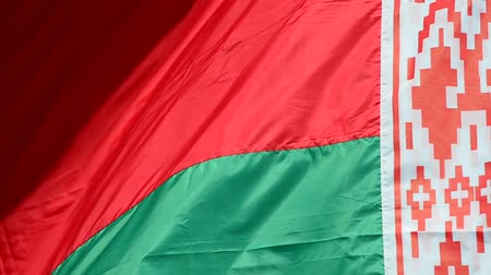 доля : Flag of the Republic of Belarus against the sky.