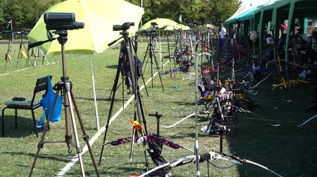 wrzesień : LVIV, UKRAINE - SEPTEMBER 09, 2019: Participants fifty-sixth International archery competitions Golden autumn 2019.
