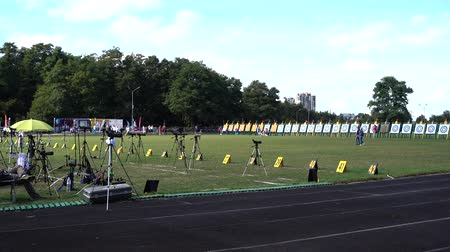 binocular : LVIV, UKRAINE - SEPTEMBER 09, 2019: Participants fifty-sixth International archery competitions Golden autumn 2019.