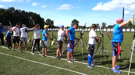 zbraň : LVIV, UKRAINE - SEPTEMBER 09, 2019: Participants fifty-sixth International archery competitions Golden autumn 2019.
