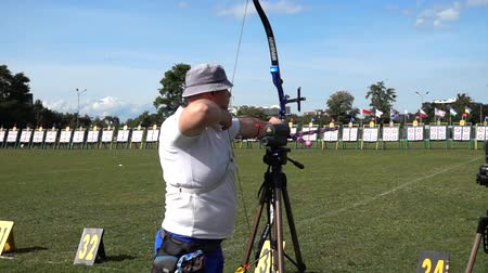aimed : LVIV, UKRAINE - SEPTEMBER 09, 2019: Participants fifty-sixth International archery competitions Golden autumn 2019.