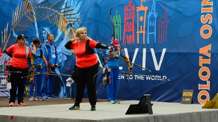 pontão : LVIV, UKRAINE - SEPTEMBER 09, 2019: Participants fifty-sixth International archery competitions Golden autumn 2019.