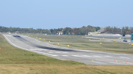 nave di linea : The plane lands on the runway at the airport. Filmati Stock