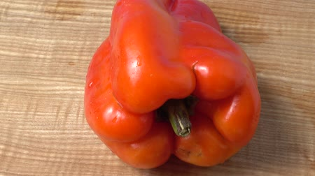 macro shooting : Sweet red pepper. Shooting in the movement. Stock Footage