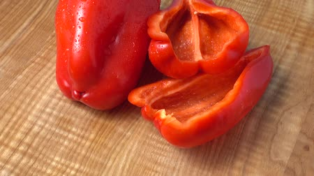 bolgár : Sweet red pepper. Shooting in the movement. Stock mozgókép