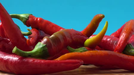 peperoni : Red chilli, pepper. Shooting in the movement.