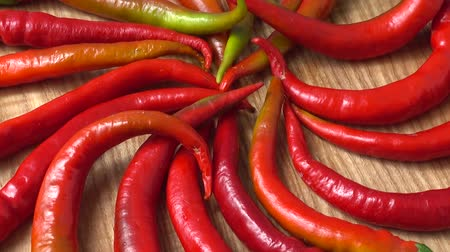 chili paprika : Red chilli, pepper. Shooting in the movement.