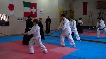 samuraj : LVIV, UKRAINE - OCTOBER 26, 2019: Budo-Marathon 2019. Participants of the marathon practice techniques of Japanese fencing. Wideo