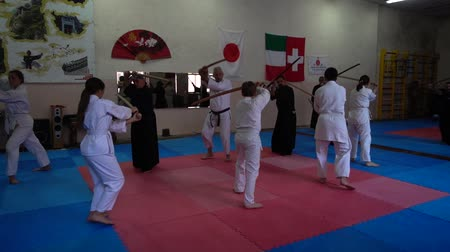samoerai : LVIV, UKRAINE - OCTOBER 26, 2019: Budo-Marathon 2019. Participants of the marathon practice techniques of Japanese fencing. Stockvideo