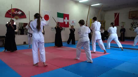 quimono : LVIV, UKRAINE - OCTOBER 26, 2019: Budo-Marathon 2019. Participants of the marathon practice techniques of Japanese fencing. Vídeos