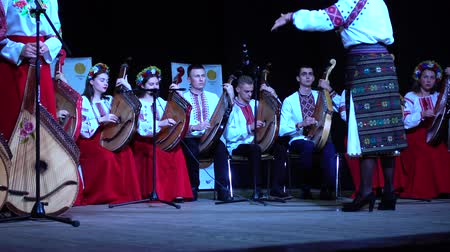 folklór : LVIV, UKRAINE - NOVEMBER 10, 2019: Lviv Bandur Fest 2019. Performances of folk bands using the musical instrument bandura.