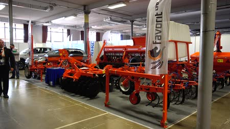 экспозиция : LVIV, UKRAINE - NOVEMBER 12, 2019: International Agricultural Exhibition EuroAGRO. Agricultural machinery at the exhibition.