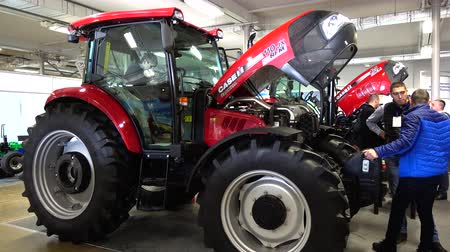 markalaşma : LVIV, UKRAINE - NOVEMBER 12, 2019: International Agricultural Exhibition EuroAGRO. Agricultural machinery at the exhibition.