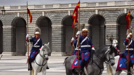 solene : MADRID, SPAIN - APRIL 04, 2018: The ceremony of the Solemn Changing of the Guard at the Royal Palace of Madrid. That is famous event was performed on the first Wednesday of each month.