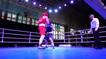 attacks : LVIV, UKRAINE - DECEMBER 4, 2019: Ukrainian Youth Boxing Championships.