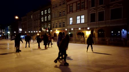 ice skating : People skate on a rink. Stock Footage