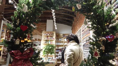 geyik : LVIV, UKRAINE - DECEMBER 21, 2019: Visitors in the gift shop. Stok Video