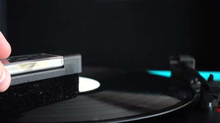 gramophone : Vinyl record player. Needle on a vinyl record.
