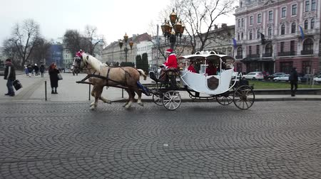 domestique : LVIV, UKRAINE - JANUARY 19, 2020: A horse-drawn carriage carries tourists around the city.