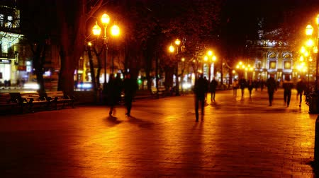 tiyatro : The movement of people along the boulevard night avenue. Time lapse. Stok Video