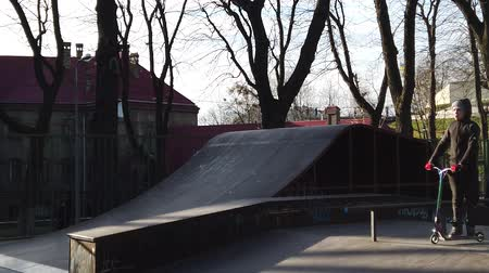 LVIV, UKRAINE - FEBRUARY 22, 2020: City public Skatepark, a platform for cycling. Stock Footage