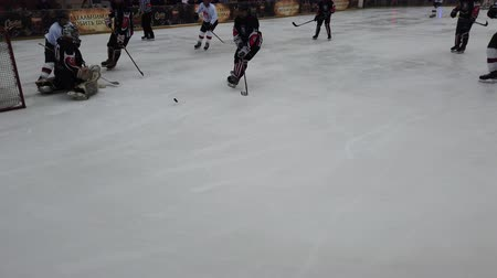 paten yapma : LVIV, UKRAINE - FEBRUARY 23, 2020: The hockey match between representatives of the armed forces of Canada and the hockey team Halytski Levy in Lviv.