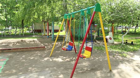 preschool : The kindergarten playgrounds for children in Russia, teeter, schoolyard