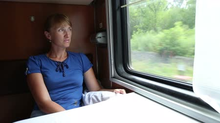 palavras cruzadas : The woman rides in a train, she sits in the coupe and looks out the window Stock Footage