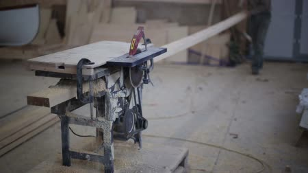 madeira : Carpenter working with circular saw woodworking machine in a carpentry workshop Vídeos