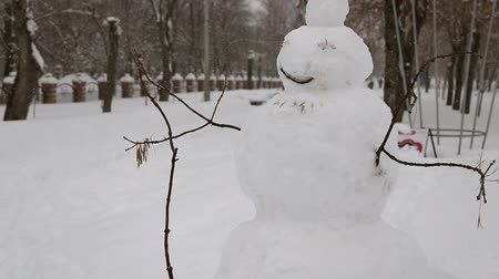 kardan adam : Snowman in the park in winter during a snowfall Stok Video