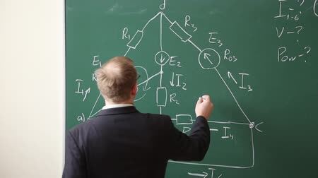 profesor : Lecturer at the university leads the lesson, he writes formulas on the blackboard Wideo