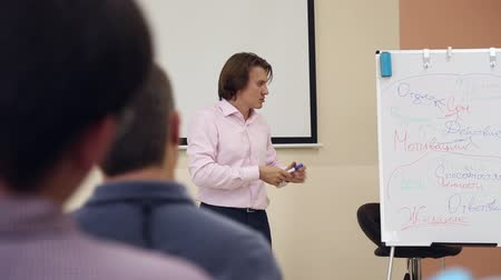 лекция : A business coach leads a workshop for people in the conference room, he comments on his notes on a tablet board Стоковые видеозаписи