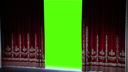 perdeler : Red curtain in a theater opens, green chromakey