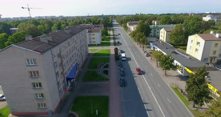 Aerial shot of beautiful europe sity main street during sunny day Stock Footage