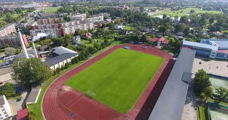 Aerial shoot of the modern football field with facilities. Stock Footage