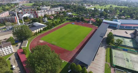4k Aerial shoot of the Ventspils football field.
