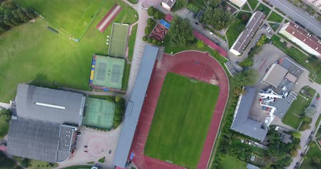 Drone top view shot of the Ventspils Olympic center Stock Footage