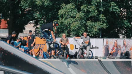 kickflip : LATVIA, VENTSPILS, JULY 29, 2017: Skateboarding Show Ghetto Games. Ghetto games is biggest in Baltic countries sport summer x games festival in Ventspils,Latvia.