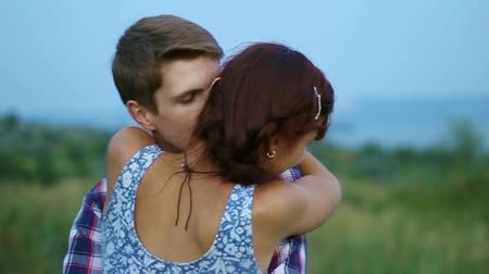 romantic couple : Affectionate embrace of lovers on the nature