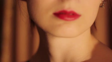 perfil : Beautiful red female lips HD Stock Footage