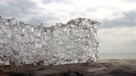 környezeti : 4k Time-lapse Ice melting. Global warming.