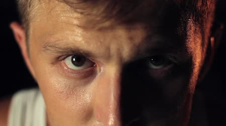 Eyes of determined man in close-up