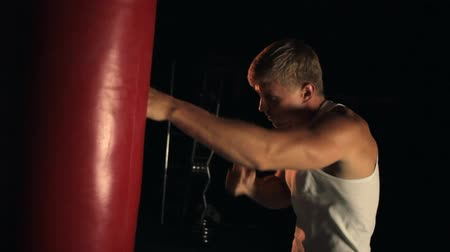 punching bag : Sportsman practicing box